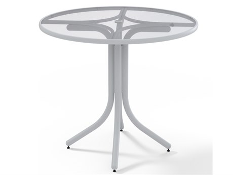 Telescope Casual Glass Top Aluminum 42''Wide Round Counter Height Table with Umbrella Hole