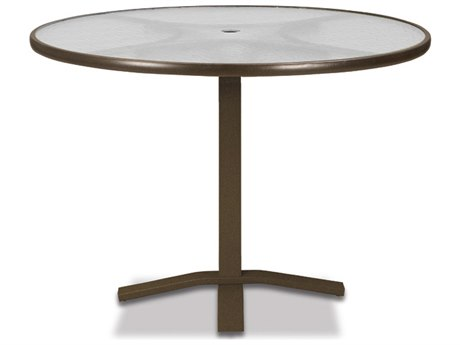 Telescope Casual Glass Top Aluminum 42''Wide Round Pedestal Counter Height Table with Umbrella Hole