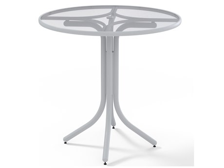Telescope Casual Glass Top Aluminum 42''Wide Round Bar Table with Umbrella Hole