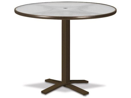Telescope Casual Glass Top Aluminum 42''Wide Pedestal Round Bar Table with Umbrella Hole