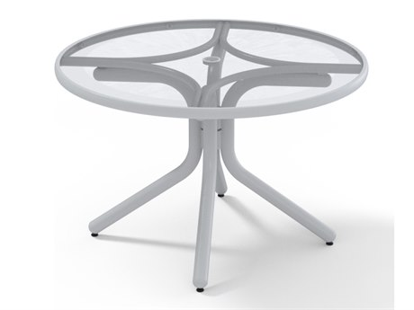 Telescope Casual Glass Top Aluminum 36''Wide Round Chat Height Table with Umbrella Hole
