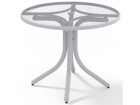 Telescope Casual Glass Top Aluminum 36''Wide Round Dining Height Table with Umbrella Hole