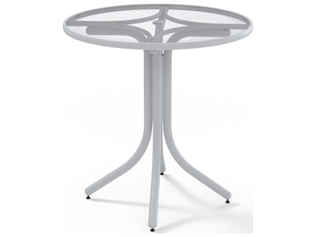 Telescope Casual Glass Top Aluminum 36''Wide Round Counter Height Table with Umbrella Hole