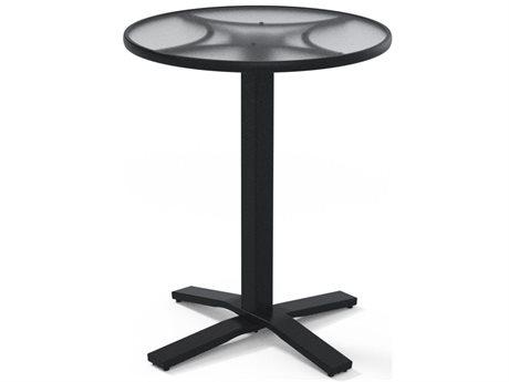 Telescope Casual Glass Top Tables Aluminum Round Umbrella Hole Counter Table