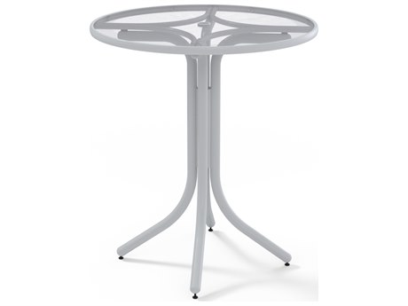 Telescope Casual Glass Top Aluminum 36''Wide Round Bar Height Table with Umbrella Hole