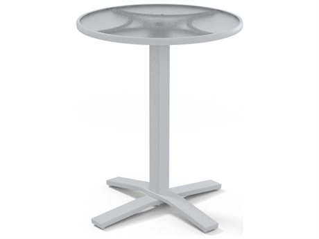 Telescope Casual Glass Top Aluminum 36''Wide Round Pedestal Bar Height Table with Umbrella Hole