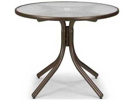 Telescope Casual Glass 36'' Round Dining Table with Umbrella Hole