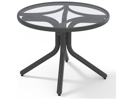 Telescope Casual Glass Top Aluminum 30'' Wide Round Chat Height Table with Umbrella Hole