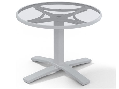 Telescope Casual Glass Top Aluminum 30''Wide Round Pedestal Chat Height Table with Umbrella Hole