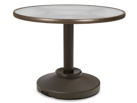Telescope Casual Glass Top Aluminum 30'' Wide Round Dining Table