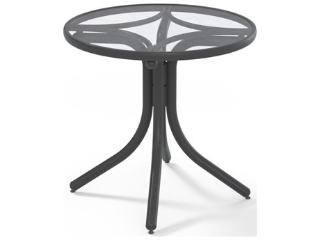 Telescope Casual Glass Top Aluminum 30''Wide Round Dining Height Table with Umbrella Hole
