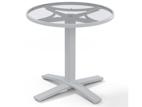 Telescope Casual Glass Top Aluminum 30''Wide Round Pedestal Dining Height Table with Umbrella Hole