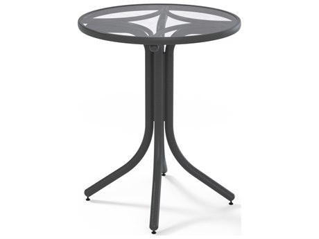 Glass Top Aluminum 30'' Wide Round Counter Height Table with Umbrella Hole