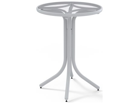 Telescope Casual Glass Top Aluminum 30''Wide Round Bar Height Table with Umbrella Hole