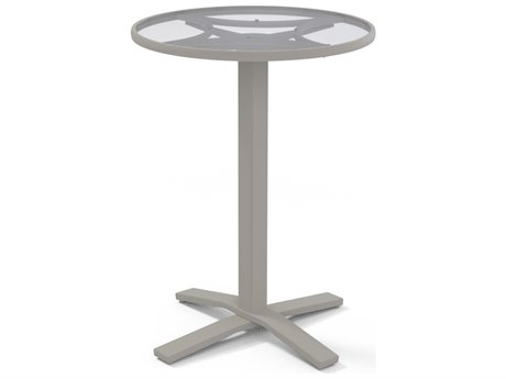 Telescope Casual Glass Top Aluminum 30''Wide Round Pedestal Bar Height Table with Umbrella Hole