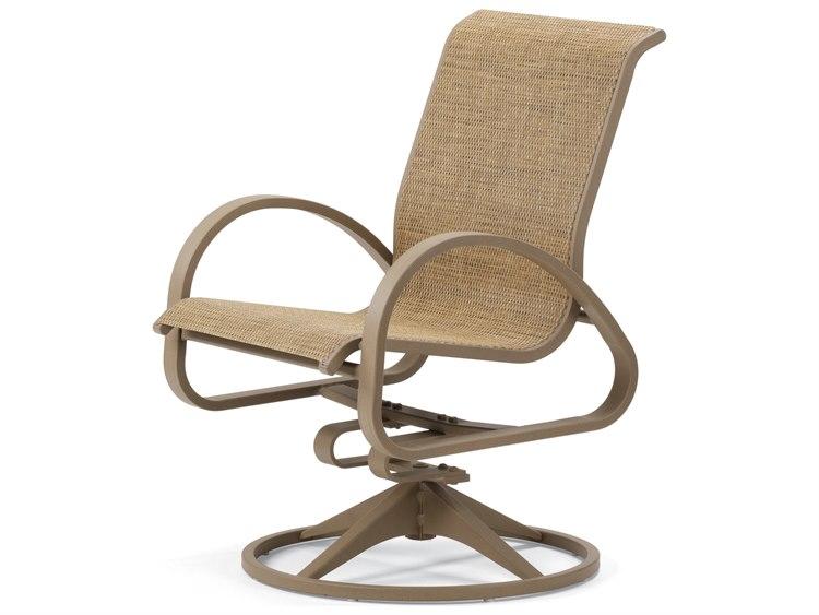 Telescope Casual Aruba II Sling Aluminum Swivel Rocker Dining Arm Chair PatioLiving