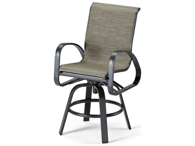 Telescope Casual Primera Sling Aluminum Swivel Counter Height Chair PatioLiving