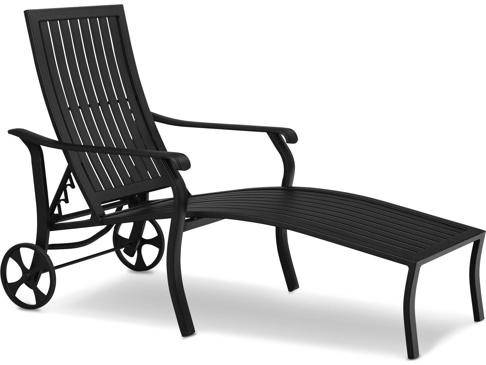 Telescope casual ocala cast aluminum coordinate arm chaise for Cast aluminum chaise lounge with wheels