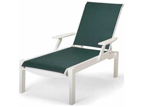 Telescope Casual Leeward MGP Sling Recycled Plastic Stackable Chaise Lounge with Arms - Long Frame