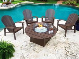 Newport Aluminum Recycled Plastic Fire Pit Lounge Set
