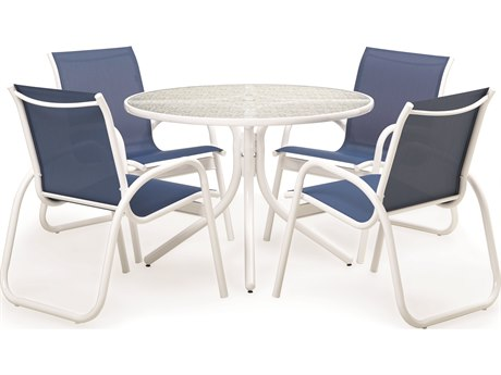 Telescope Casual 5 Piece 42 Round Gardenella Sling Dining Set