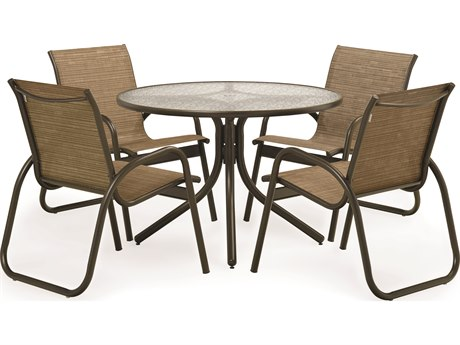 Telescope Casual 5 Piece 42 Round Gardenella Sling Dining Set TCSET01001