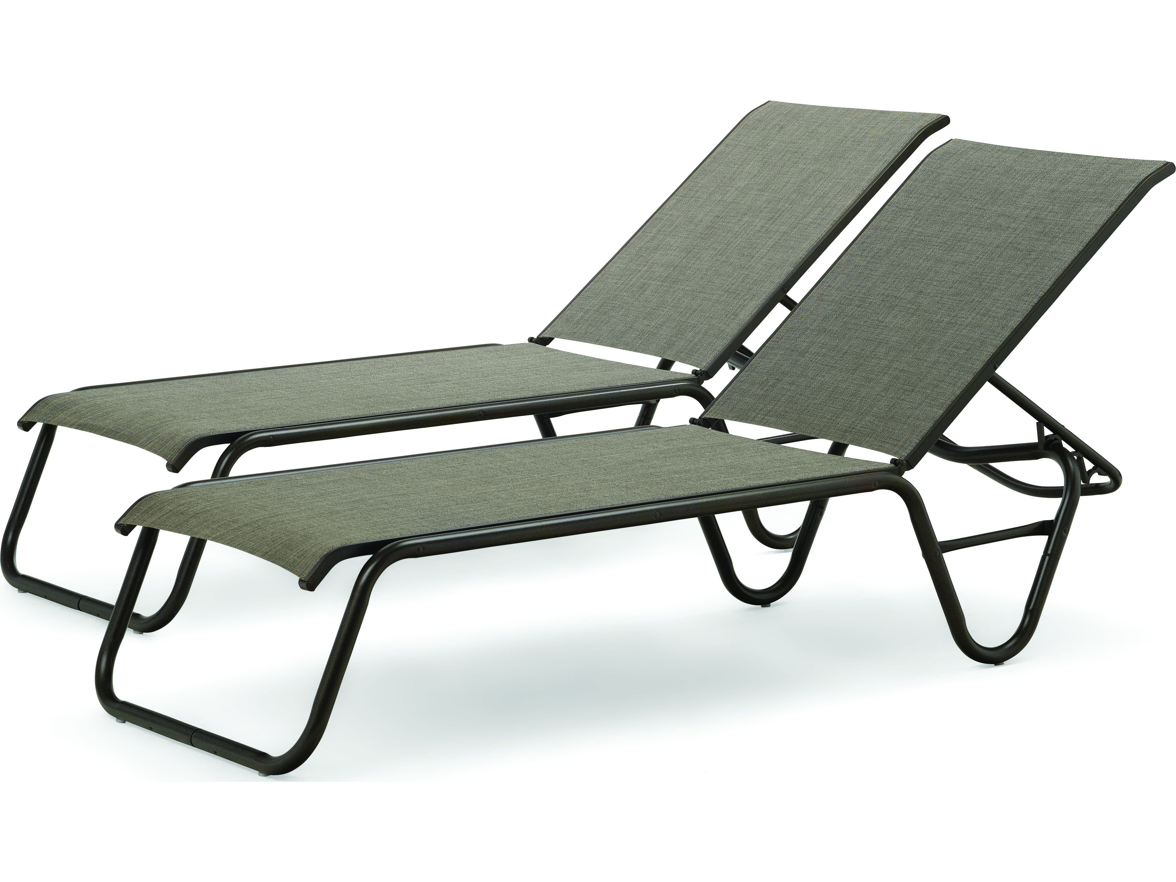 Telescope casual gardenella set of two sling lay flat for Aluminum commercial stack chaise lounge
