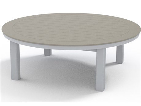 Telescope Casual Marine Grade Polymer 54''Wide Round Coffee Height Table with Umbrella Hole