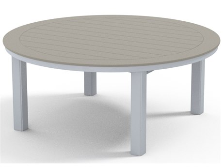 Telescope Casual Marine Grade Polymer 54''Wide Round Chat Height Table with Umbrella Hole