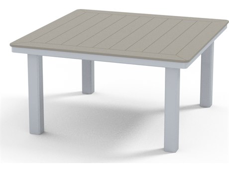 Telescope Casual Marine Grade Polymer 42'' Wide Square Chat Height Table with Umbrella Hole
