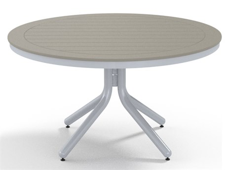 Telescope Casual Marine Grade Polymer 42''Wide Round Chat Height Table with Umbrella Hole