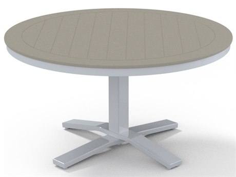 Telescope Casual Marine Grade Polymer 42'' Wide Round Pedestal Chat Height Table with Umbrella Hole