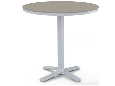 Telescope Casual Marine Grade Polymer 42''Wide Round Pedestal Bar Height Table with Umbrella Hole