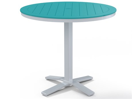 Telescope Casual Marine Grade Polymer Tables 42''Wide Round Counter Table with Umbrella Hole