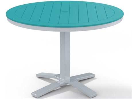 Telescope Casual Marine Grade Polymer Tables 42''Wide Round Dining Table with Umbrella Hole
