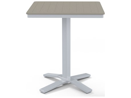 Telescope Casual Marine Grade Polymer 32''Wide Square Pedestal Counter Height Table with Umbrella Hole