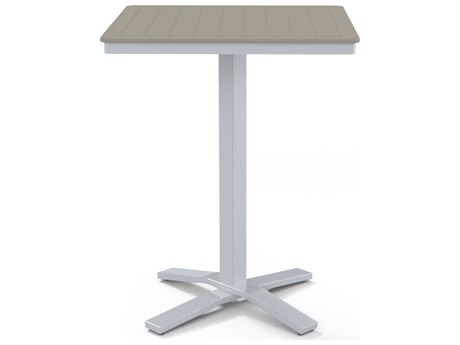 Telescope Casual Marine Grade Polymer 32''Wide Square Pedestal Bar Height Table with Umbrella Hole