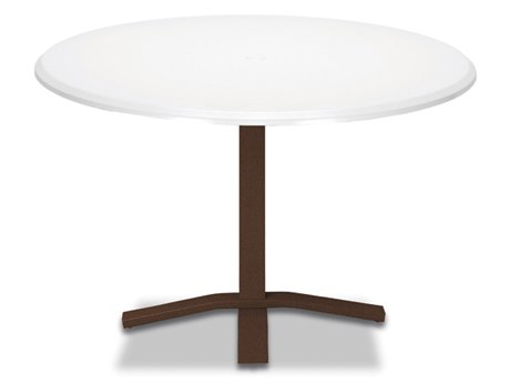 Telescope Casual Werzalit Top Recycled Plastic 48''Wide Round Pedestal Dining Height Table with Umbrella Hole