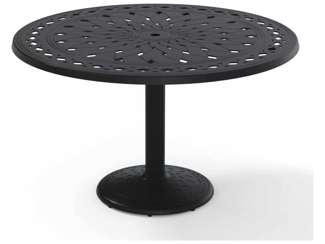 Telescope casual cast aluminum 48 round dining table with - Aluminium picnic table with umbrella ...