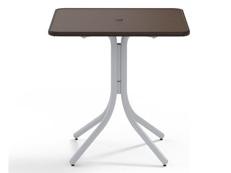 Telescope Casual Banded Hammered Mgp Aluminum 36''Wide Square Counter Height Table with Umbrella Hole