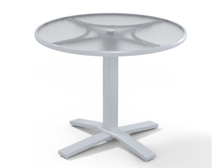 Telescope Casual Glass Top Tables Aluminum Round Umbrella Hole Dining Table