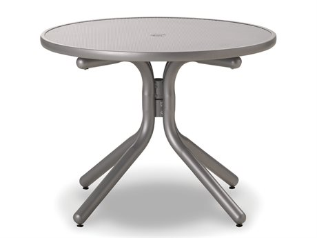 Telescope Casual Embossed Aluminum Top 42 Round Chat Height Table with Hole