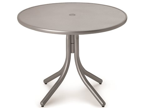 Telescope Casual Embossed Aluminum Top 42 Round Dining Height Table with Hole