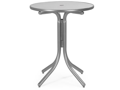 Telescope Casual Embossed Aluminum Top 36 Round Balcony Height Table with Hole
