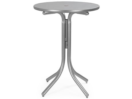 Telescope Casual Embossed Aluminum Top 36 Round Bar Height Table with Hole