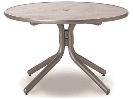 Telescope Casual Embossed Aluminum Top 36 Round Chat Height Table with Hole