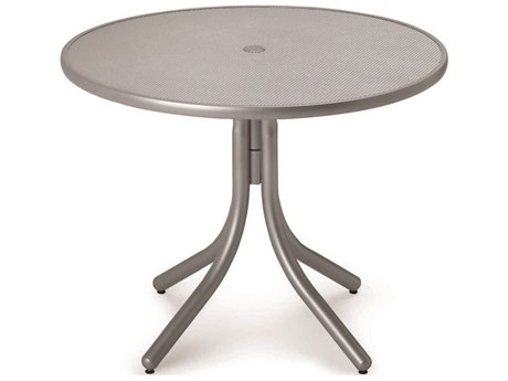 Telescope Casual Embossed Aluminum Top 36 Round Dining Height Table with Hole