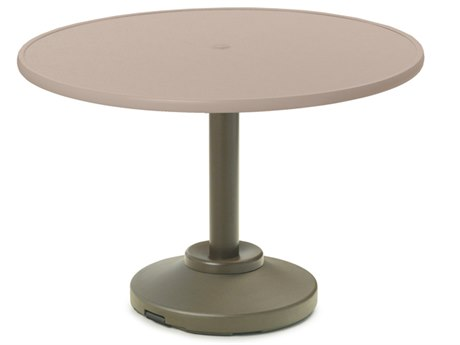 Telescope Casual Banded Hammered Mgp Aluminum 48'' Wide Round Dining Table with Umbrella Hole