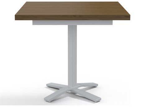 Telescope Casual Elements Aluminum 42''Wide Square Pedestal Counter Height Table with Umbrella Hole