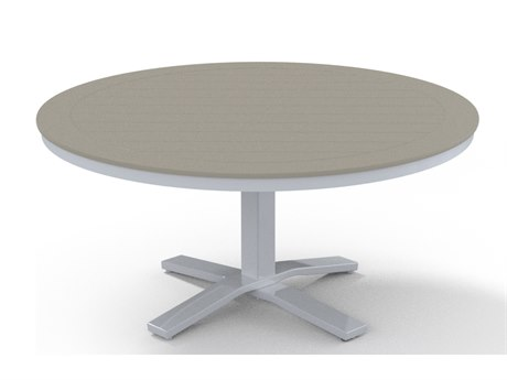 Telescope Casual Marine Grade Polymer 48''Wide Round Pedestal Chat Height Table with Umbrella Hole